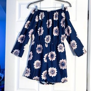Dresses & Skirts - NAVY BLUE FLORAL ROMPER-MEDIUM